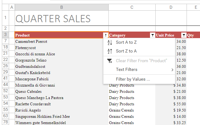 Excel Inspired AutoFilter